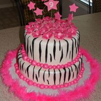 Zebra Birthday MMF Covered cake MMF and GP accents. Airbrushed to make sparkle.