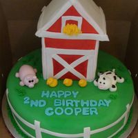 Barn And Friends Barn sculpted out of styrofoam, covered in fondant and airbrushed red. hand made fondant farm animals. Cake covered in MMF, with Ranch...