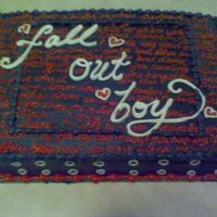 I Heart Fall Out Boy!!!!!  Fall out boy themed cake I made for my niece. This is a Chocolate Fudge cake with a ganache filling and frosted in a black buttercream....