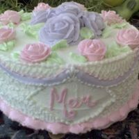 Roses And Lace   almond buttercream pinkand lilac roses with cornelli lace and a touch of lattice