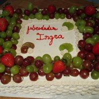 Tres Leches With Grapes   Tres Leches Cakes decorated with grapes! Must admit the writting is not good at all still need practice in that