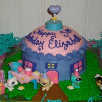 Littlest Pet Shop Cake  I used 2 or 3 - 8 inches layers (depending on how high you want the pet house) and another layer made from an oven proof bowl for a dome...