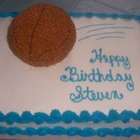 Basketball Cake  This was for my nephew's 8th birthday. He loves basketball. I didn't have a ball cake pan so free-handed one out of a 2 layer 6&...