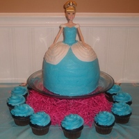 Cinderella Doll Cake  This Cinderella doll cake is made up of 3 - 8 inch rounds and a 4th layer cake made in a oven proof bowl to give a dome shape when turned...