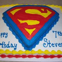 Super Cake  This cake I did for my nephew who loves superman. Go figure lol. I draw out my own stencil and cut a single layer cake in the shape of the...