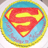 Superman Logo This is the second cake I've made. I made it for my fiance's birthday tomorrow. He told me to suprise him and he loved what I...