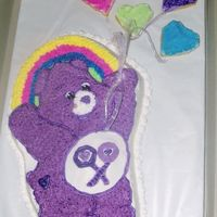 Care Bear   balloon cookies iced and covered with colored sugar
