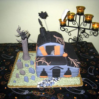 Haunted House Fun cake to put together...had lots of help from my nieces.
