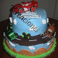 Cars Another cars cake. I did this one first and tried to make it extra special since it was for my best friend.