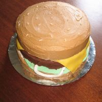 Teacher's Burger  another cake for the teacher's luncheon. the last one for the year. i've always wanted to do a burger cake, and thought since...
