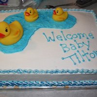 Baby Shower Ducks   chocolate fudge cake, vanilla bc icing.