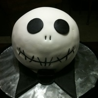 Jack Skellington Double chocolate mini ball cake covered with vanilla buttercream and MMF. thanks to m_edge for the MMF recipe, quickest/easiest to make and...