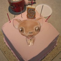 Mo's Chihuahua Cake   butter flavored cake with pink strawberry bc