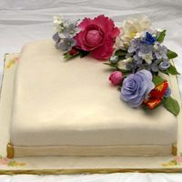 70 Th Bday gumpaste flowers, ivory fondant, rose embossing