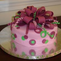 Dots And Bow Birthday cake for a friend. White cake with almond flavoring. She wanted fondant in pink and green. I found the ribbon that's along...