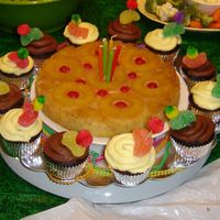 Pineapple Upside Down Birthday Cake Made for a friend who LOVES pineapple upside down cake. I hate pineapple, so I made the cupcakes for the rest of us. Decorated them with...