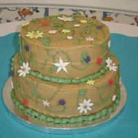 Caramel Cake Informal wedding cake for a friend. She wanted cooked caramel icing (kind of like fudge), so she knew it wouldn't be smooth. They...