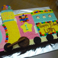 Lutfi's Choo Choo Train Cake chocolate cake with buttercream.try my best to make it more colourful the b'day boy