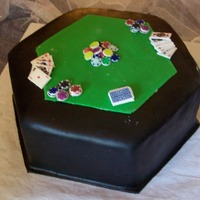 Poker Table Groom's Cake Used Michele Foster's Fondant. Cards and chips are edible images on fgp mixture.