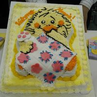 Witzy Baby Shower Cake The idea for this cake was taken from the Wilton yearbook. The bottom cake is chocolate and the witzy cake is yellow. All Buttercream. The...