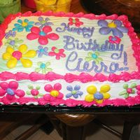 Bright Flowers This is a yellow cake made with the cake mix extender recipe from this site. All buttercream. This was for a little girl's 10th...