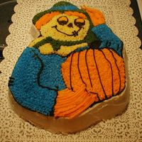 Scarecrow Cake Just a plain yellow cake w/ BC icing. This is for our church's Harvest Festival.