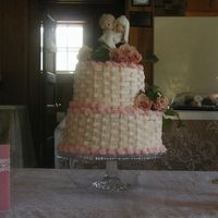 Basketweave Wedding Cake ASC cake with Rick;s Special buttercream. Fresh roses and ivy.
