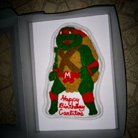 Ninja Turtle Chocolate ninja turtle. i have had this cake pan forever and never baked in it until now. it was made for a little boy that loves TMNT.