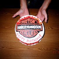 Harley Davidson Bday Cake two layer chocolate cake with strawberry filling.