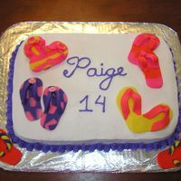 Flip Flops My niece requested strawberry cake with a flip flop theme. This is what resulted! The flip flops are of (store bought) fondant. The rest is...