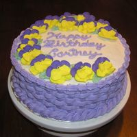 Pansies And Basketweave Strawberry cake with BC icing. My neice's 16th birthday party. Her friends asked where they bought the cake, and I was very proud!