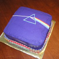 Pink Floyd Dark Side Of The Moon Album Cover This was for my nephew's 15th birthday. The original album cover was black, but purple seemed more appetizing to me! Strawberry cake...