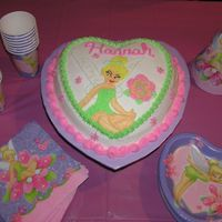 Tinkerbell This is my daughter's 5th birthday cake. Strawberry cake with bc frosting and bc decorations. Wings are sparkly with cake sparkles.