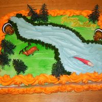 Hunting Theme Birthday Cake This is a white cake with bc icing and plastic decorations. Thanks for looking!!!!!!