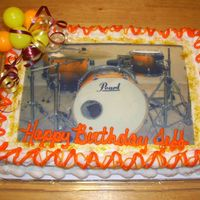 Drummers Cake This is an edible image of my husbands drum kit that I put on his birthday cake.Thanks for looking!!!
