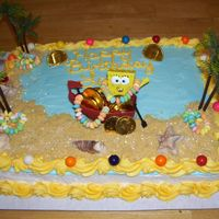 Spongebob cake is 1/2 sheet with 1/2 white and 1/2 chocolate decorated with buttercream icing and plastic decorations. sand is graham cracker crumbs...