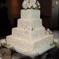 Emily And Bruce's Wedding Cake Square Ivory cake made with Sugarshack icing and Jennifer Dontz pearl clay- these 2 women are amazing! Thank you both so much for helping...