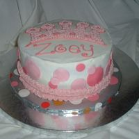 Pink Princess Cake MArble cake w/buttercream icing and fondant accents.