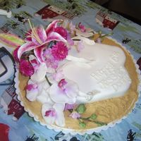 Flip Flop Anniversary Rings flip flop fondant strawberry cake, silk floral, and graham cracker sand