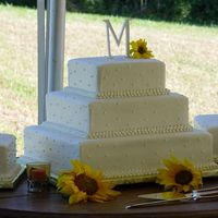 "Cakes8_115.jpg 16, 12, 8"" squares with 10 and 12"" squares on sides. All buttercream with dots and tripple bead borders. Fresh sunflowers."