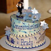"Cakes8_257.jpg Son's graduation. 10"" and 8"". Buttercream with fondant accents."