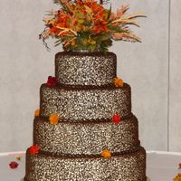 "Cakes8_128.jpg 14, 12, 10, 6"" all buttercream with sotas lace in brown."