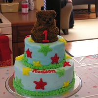 Bear My first stacked cake. Yikes! I'll never go without dowels again!