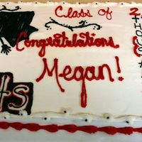 "2008 Graduation Full Sheet Cake 15x22 WASC with Almond ""buttercream"" For a high school graduation"
