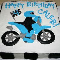 "Dirt Bike All buttercream dirt bike cake 12"" square. Inspired by Copacabanya's dirt bike cake"