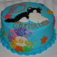 Webkinz Black And White Cat Cake Webkinz cake for my niece. She loves the black and white cat and also wheel of wow so those were a must on the cake! All buttercream except...