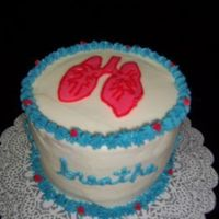 Breathe Cake BCT lungs and the word 'breathe' around the sides, for Respiratory Therapy week