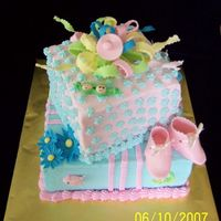 Twin Shower 9x9 and 6x6 with BC and fondant & gumpaste accents for a boy/girl twin shower.