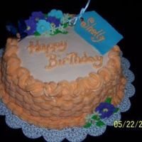 Phpcindqmpm.jpg BC basket weave in peach with lavender flowers, fondant/gumpaste name tag