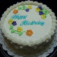Generic Birthday BC Birthday cake with flowers, Wilton press lettering